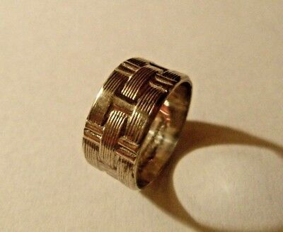 Vintage Sterling Silver 925 Basket Weave Cigar Band Ring Size 6 Signed M-H