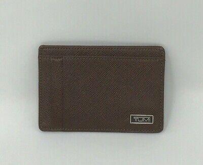 Tumi Money Clip Card Case Wallet Chestnut Brown RFID New