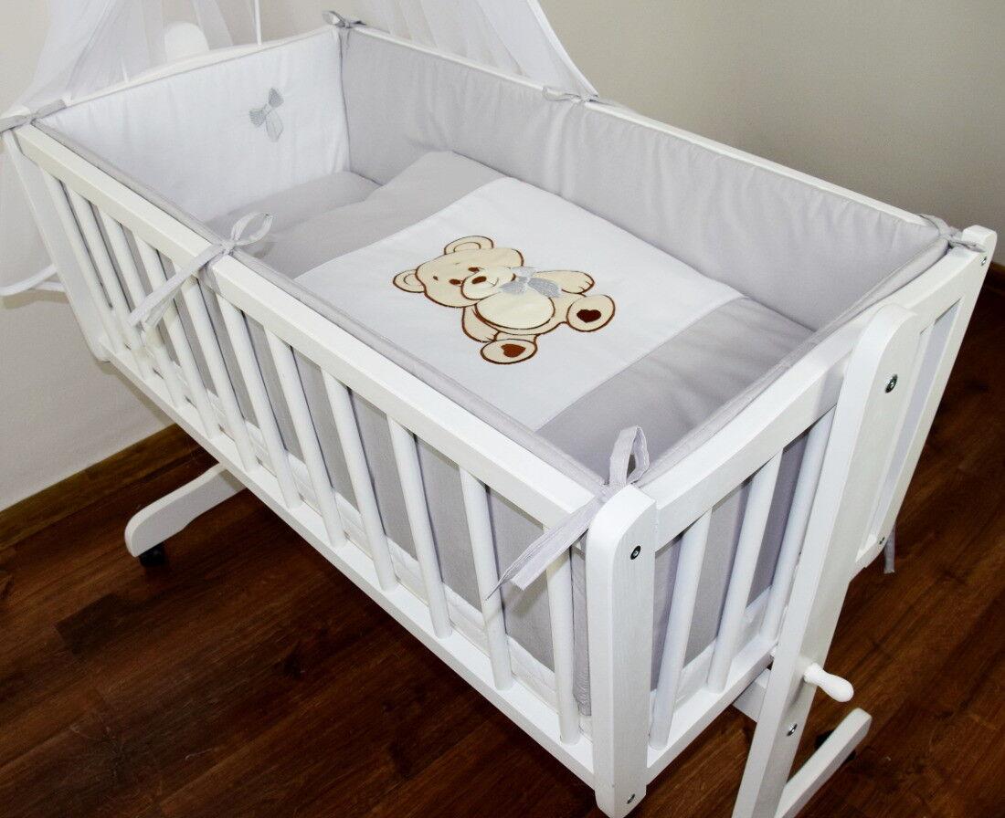Baby Bettwäsche Himmel Nestchen Bettset mit Applikation für die Wiege Design 8K