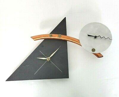 Maris Taylor Design Signed Clock Mid Century Modern Copper, Aluminum, Slate