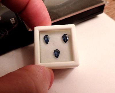3 Loose Pear Shaped Natural Sri Lanka Sapphires. GORGEOUS :) 1.25cts