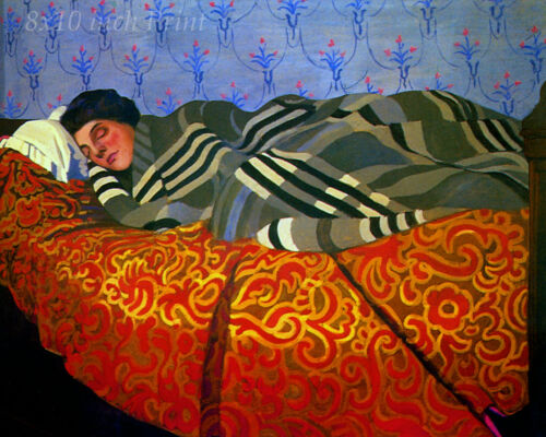 Sleeping Woman by Felix Vallotton - Lady Sleep Bed Blanket Cover 8x10 Print 1779