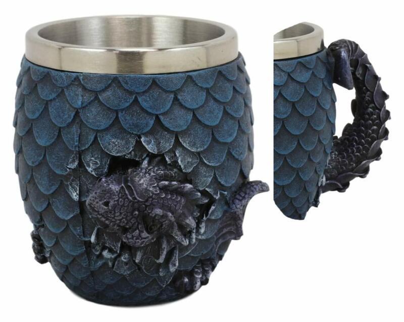 Ebros Medieval Elemental Blue Dragon Scale Egg With Wyrmling Mugs (Water Blue)
