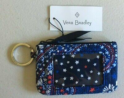 Vera Bradley Iconic Zip ID Case/Coin Purse w/Keychain FIREWORKS PAISLEY ~ NWT