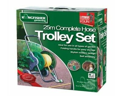 NEW 25M COMPLETE HOSE TROLLEY SET GARDEN WATERING PIPE PORTABLE REEL FITTINGS