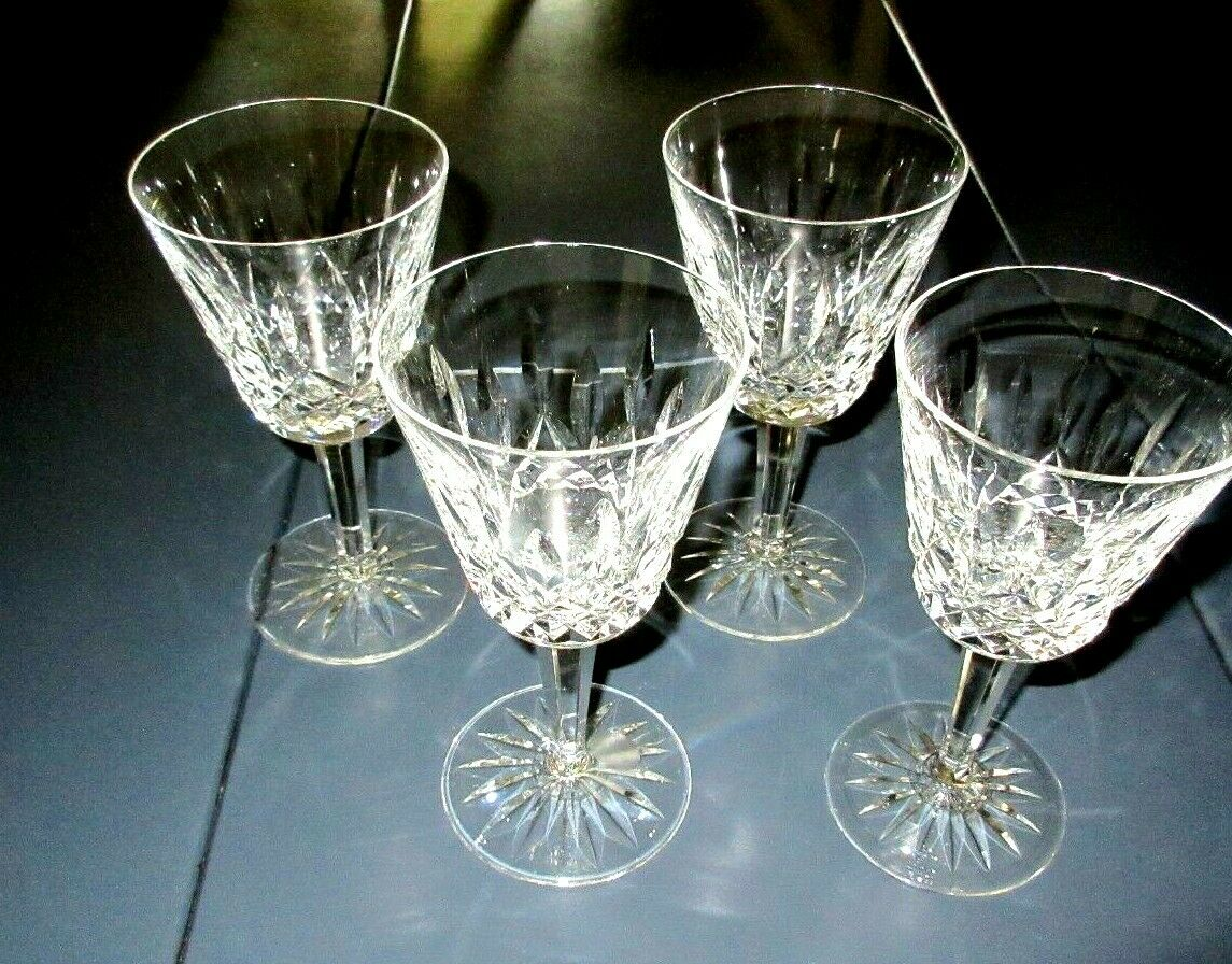 Four Vintage Waterford Lismore Claret / Wine 4 Ounce Goblets 5 3/4 Gothic Mark - $50.00