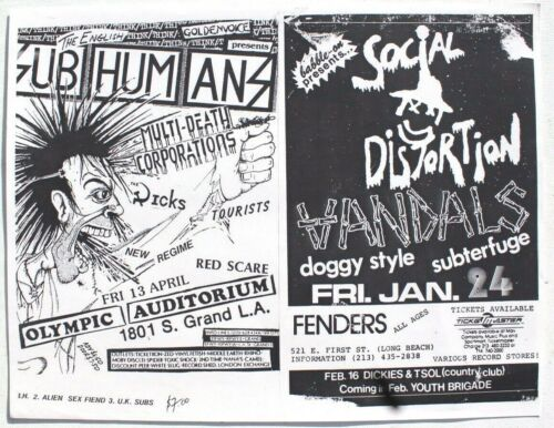 Vtg Jan 8, 1983 Social Distortion / Aug 27th Wasted Youth Rock Concert Flyer