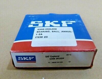 Skf Explorer Ball Bearing Abec 3 - 6308 2rs Jem - Rubber Sealed - Made In Usa