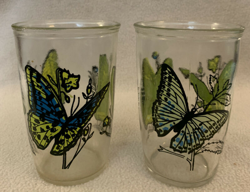 Pair of Vintage Ball  Blue Butterfly Penn Maid Sour Cream Glass Tumblers 12 oz