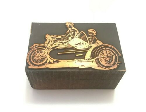 Antique Motorcycle Wood Printers Press Block Indian Harley Sidecar advertising