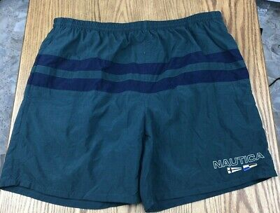 Nautica Swim Trunks Mens L Mesh Lined Green w/Black Stripe Flag Logo Spell Out