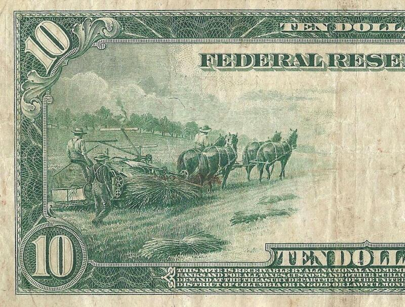 LARGE 1914 $10 DOLLAR BILL FEDERAL RESERVE NOTE BIG CURRENCY OLD PAPER MONEY VF