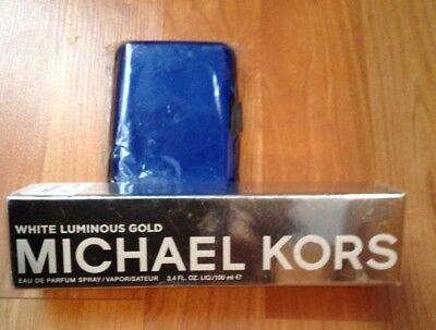 Michael Kors White Gold Eau De Parfum Spray 3.4 Oz + Free Blue Alum Wallet