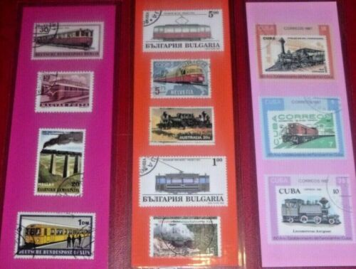 3 BOOKMARKS ~ TRAIN Laminated POSTAGE STAMPS~COLORFUL :) STEAM ENGINE 771