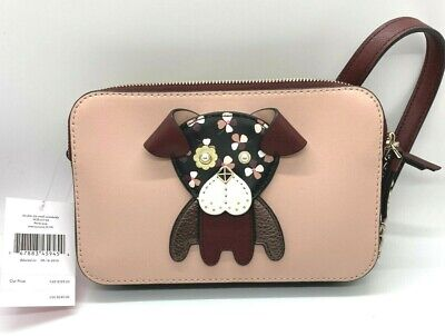 Kate Spade New York Floral Puppy Dog Mauve and Burgundy Leather Cross Body Bag