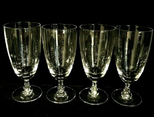 MCM Starburst Atomic Sputnik Etched Crystal Glass Goblets set of 4