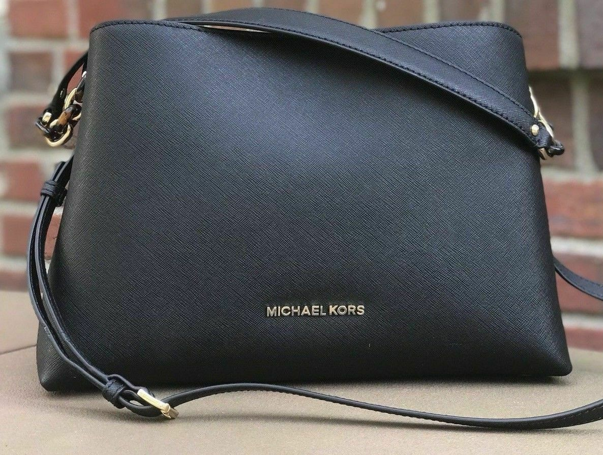 0980eb595ad604 Michael Kors Sofia Large Leather EW Satchel Purse Bag Black Mulberry White  Pink
