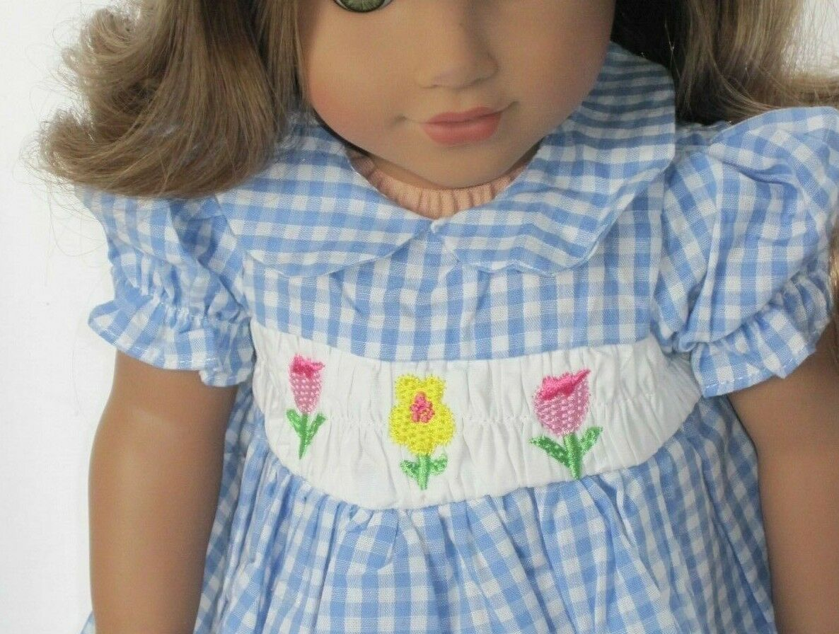 Blue Plaid Smocked Floral Dress Doll Clothes For 18 Inch Ame