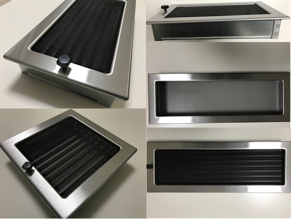 Kamingitter regulierbar Luftgitter in schwarz Antikas L/üftungsgitter f/ür Ofen