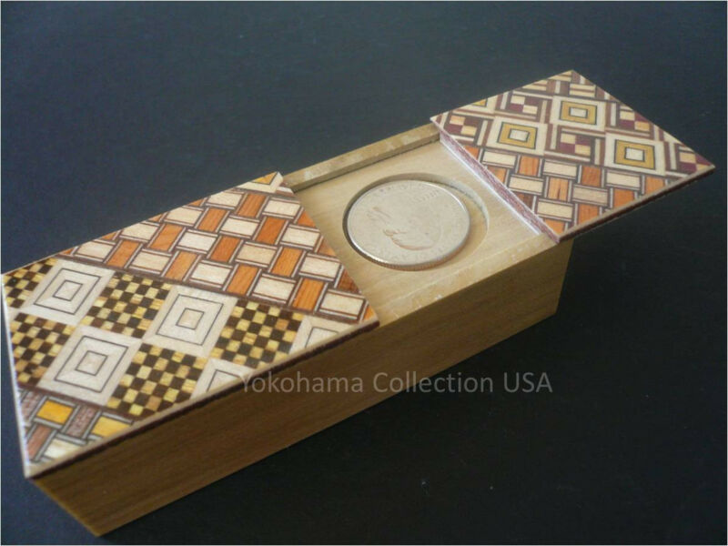 Japanese Hand Craft Yosegi Magic Coin Wooden Puzzle Trick Box/Made in Japan