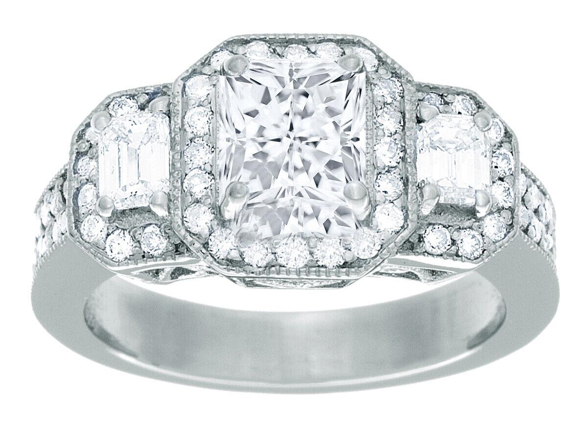 GIA Certified Diamond Engagement Ring 2.30 CTW Princess Cut 18k White Gold