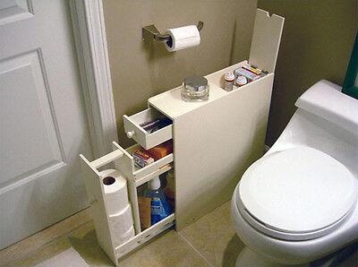 Slimline Organiser Bathroom Cupboard Cabinet White Wooden Toilet Roll Storage