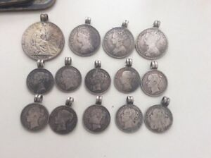 Antique Silver Coins Jewellery Mostly Great Britain