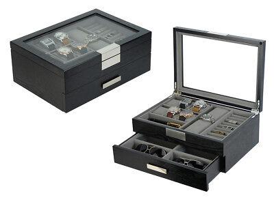 Executive Classic Black Wood Finish Cufflinks Sunglasses and Jewelry Box - Executive Cufflinks Jewelry Box