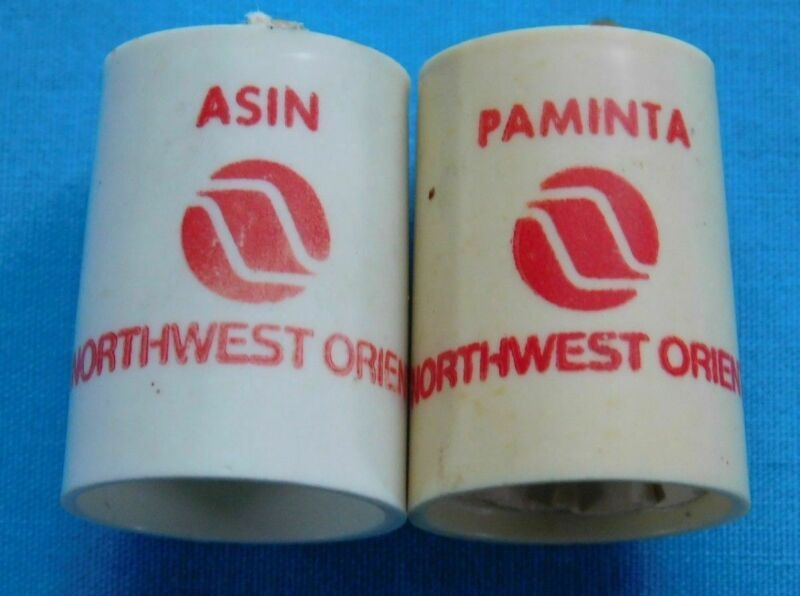 VINTAGE NORTHWEST ORIENT AIRLINES  SALT AND PEPPER SHAKERS PLASTIC PLANES