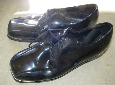 Steel Toe Oxford Schuhe (Preowned Lace Up Boys Black Tuxedo shoes Size 10 Oxford Steel toe )