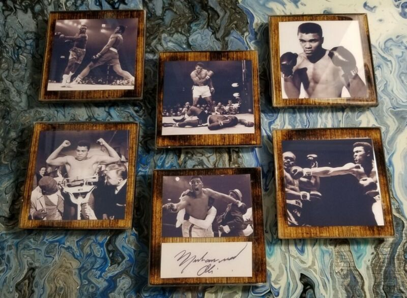 Set Of 6 Drink Coasters With Muhammad Ali Photos And Reprint Auto The Greatest