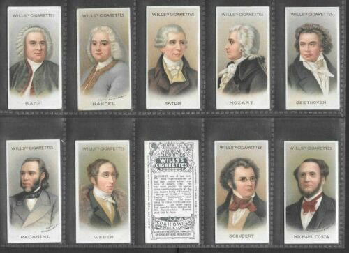 "WILLS 1912 INTERESTING ( MUSICAL ) FULL 50 CARD SET  "" MUSICAL CELEBRITIES 1st """