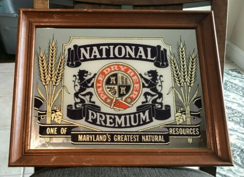 VINTAGE NATIONAL PREMIUM BEER MIRROR - WOOD FRAME SIGN BALTIMORE MD