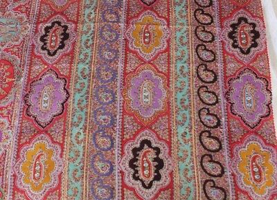 Antique French Block Printed Paisley Medallion Wool Chalis Fabric c1860-1870