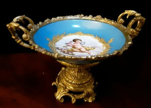 """Ant. French Sevres Porcelain Ormulo Mounted Compote Made in France Cherub 7 1/2"""""""