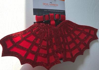 Halloween PET Dog Costume DEVIL Harness RED Sparkly Glitter Shiny Fancy SM. NWT