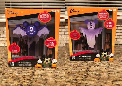 Gemmy Disney Airblown Inflatable Blinking LED Mickey Mouse Ghost & Bat Set