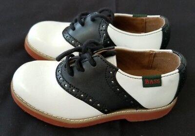 Kids Size 11 M White/Black Bass Enfield Oxford WestWard Leather Shoes - Bass Kids Shoes
