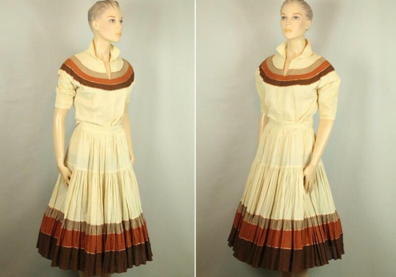 Vintage Fancy 2pc Beige Amber Rockabilly Dance Swing Full Skirt & Top Blouse L