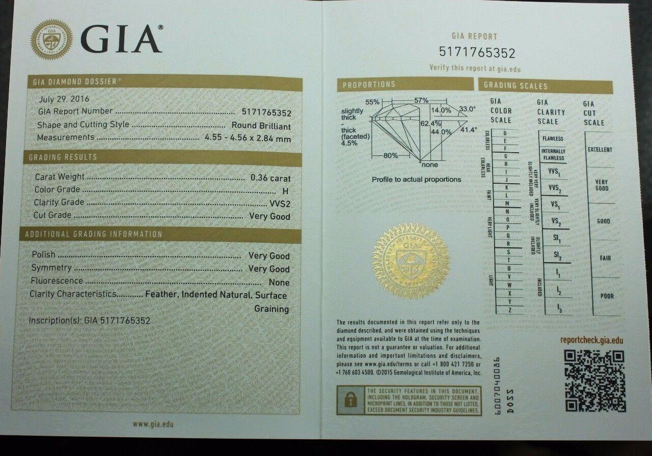 GIA natural loose diamond round brilliant .36ct H VVS2 4.55-4.56x2.84mm NEW