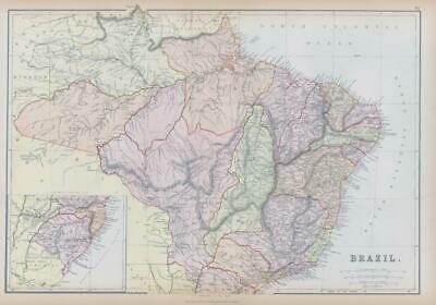 1882 LARGE Antique Colour Map of BRAZIL by BLACKIE (BA7)