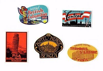 Aufkleber Sticker Set 5St Vintage Reise Travel Hotel Koffer Laptop Vinyl Set 7