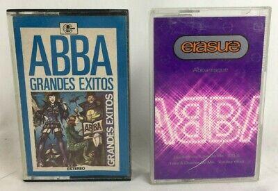 "Lot of 2 ABBA Cassette Tapes ""Grandes Exitos, Erasure"" Spanish Import"