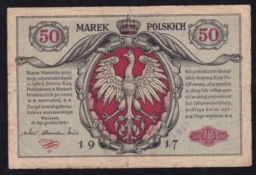 POLAND ---- 50  MAREK  1916 - 1917 ---- GERMAN  OCCUPATION ---- WWI -----