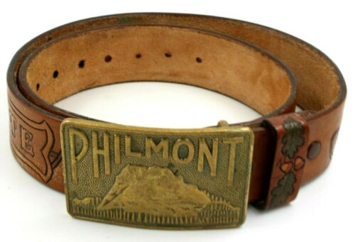 """Beautiful Leather Wood Badge 35"""" Belt with Philmont Scout Reservation Buckle BSA"""