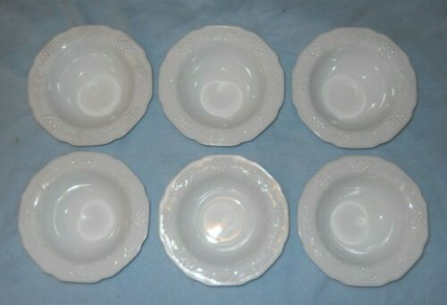 6 vintage INDIANA HARVEST GRAPE COLONY white milk glass round salad CEREAL BOWLS