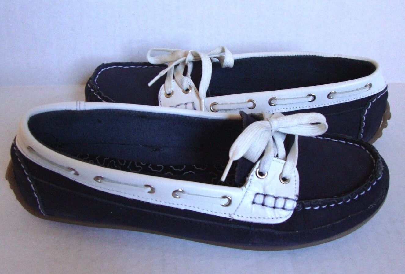 New Clarks Women's Soul Of Of Africa Nerina Juliete Leather Boat Shoes Navy SZ 7