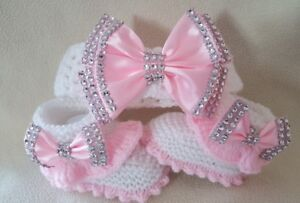 Hand knitted Romany Bling baby girls booties/shoes/Crochet headband.0-3  months