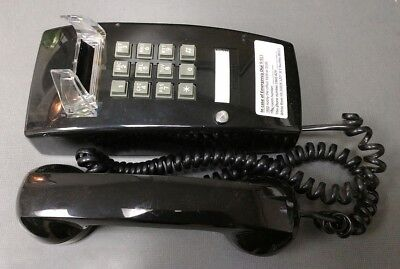 Vintage Cortelco Itt 255400-vba-20md Black Single Line Analog Corded Wall Phone