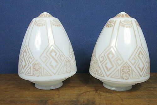 "2 Vintage Antique Art Deco 10"" Ceiling Light Glass Globes Stenciled-Will Divide"